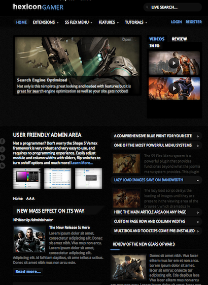 Games Template Joomla Joomla 2.5 Gaming Template