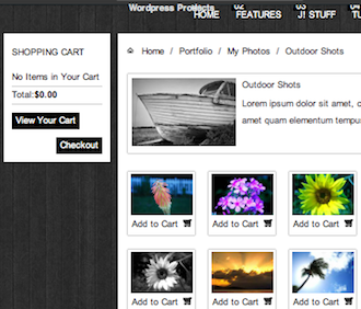 Joomla 2.5 Photography Template - Photofolio Add to Cart