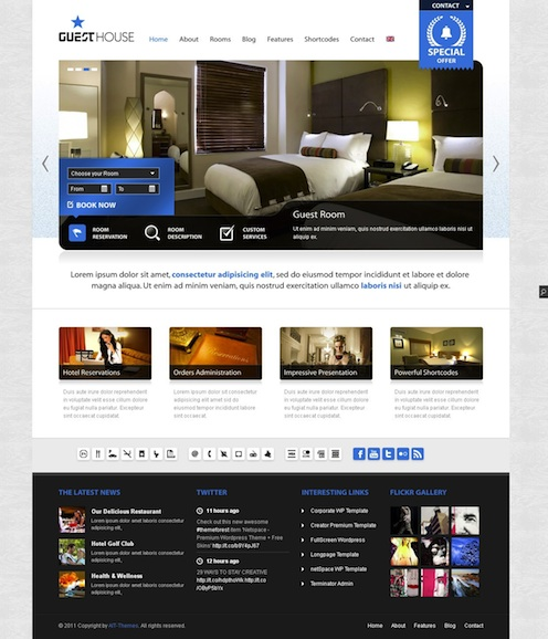 Wordpress Hotel Template - Guesthouse