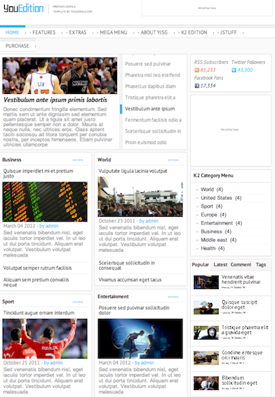 Joomla 2.5 News Template - YouEdition