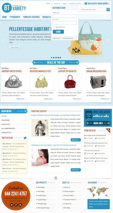 Joomla 2.5 Fashion Catalog Template - BT Variety