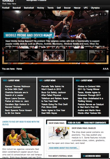 Joomla 2.5 Sports News Template - Sports Nation