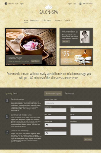 Joomla 2.5 Online Reservation Salon n Spa Template