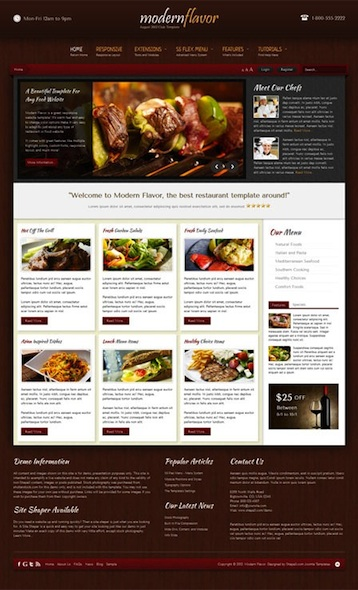 Responsive Joomla Template for Restaurants - Modern Flavor