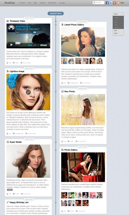 Facebook Timeline Minimalistic WordPress Theme - Postline