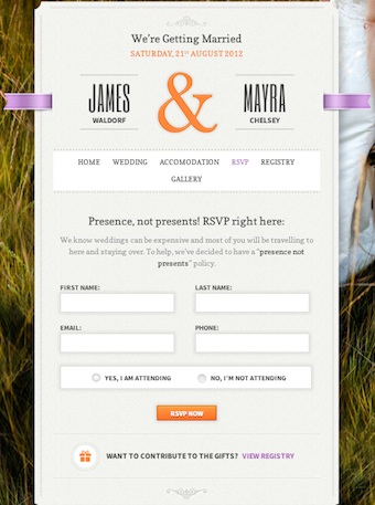 Just Married Wedding Template RSVP Module