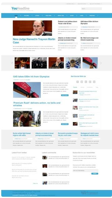 Joomla 2.5 Magazine Template - YouHeadline