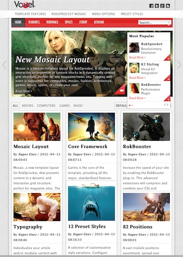 Joomla 2.5 Magazine Template - Voxel