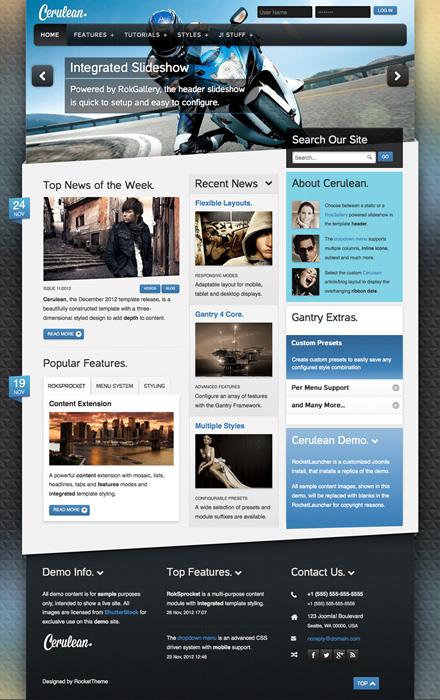 Responsive Joomla 3.0 News Template - Cerulean