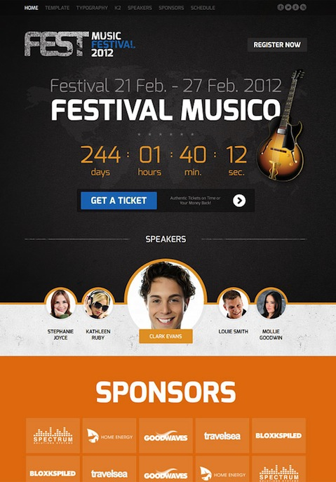 Joomla 3.0 Music Festival Template - Fest