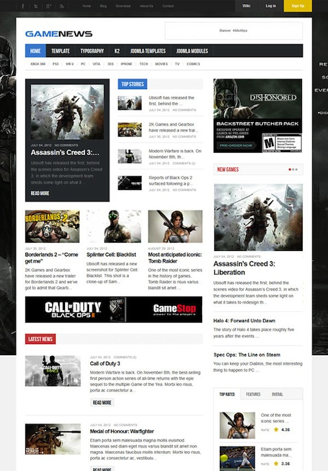 Responsive Joomla 3.0 Game News Template